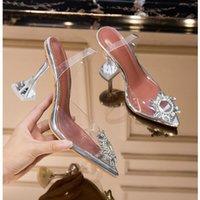 Meefaini verão novo transparente sandálias feminina moda elegante geléia stiletto sapatos apontados strass saltos altos y200405