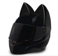 Personalidad gato oreja motocicleta casco completo cuatro temporadas protección sol carreras hombres y mujeres verano cuerno