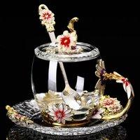 Tasses en émail fait à la main fleur verre tasse de café tasse de café parfumé lait juice cadeau cadeau couple drop ship