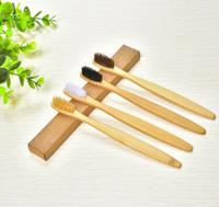 MOQ 20PCS 100% Biodégradable bambou Brosse à dents Portable brosse à dents souple cheveux Respectueux Brosses nettoyage buccal Outils de soins
