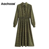 Aachoe Elegante Umdrehende Kragen Hemd Kleid Frauen Blumendruck A-Linie Büro Kleid Langarm Elastische Taille Lässige Kleider