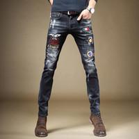 Мужские джинсы уличные мужские мода вышивка напечатаны напечатанные растягивающие синие джинсовые брюки
