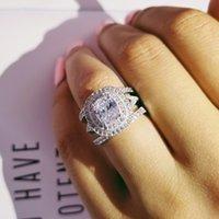 Sólido 925 plata esterlina 3 unids en 1 Cojín Zircon Anillo de bodas Conjunto para mujeres bridas Regalo de dedo África Joyería de moda