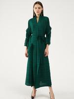 Miyake Pileli Petal Kollu Elbise Yaka Hırka Sashes Uzun Kollu Rahat Artı Boyutu Uzun Yeşil Elbise Kış Kadın Giysileri 201203