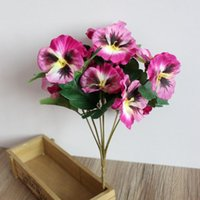 Casamento falso Plant Simulation Hotel Ornamento do partido de escritório Início Table Desk Decor Artificial Flowers Bouquet Pansy