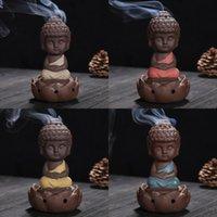 Kum tütsü brülör Seramik Bir Budist Keşiş Süsler Güzel Dekoratif Fragrance Lambalar censer Lotus Sit In Meditasyon buhurdan 9ys K2