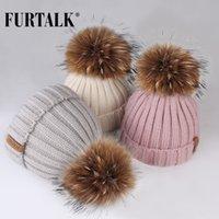Furtalk الشتاء pompom قبعة للأطفال سن 1-10 قبعة قبعة الشتاء قبعة للأطفال الفراء بوم بوم قبعات للفتيات والفتيان LJ201221