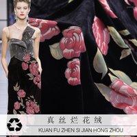 Tecido 2021 Hollow Real Amoreira Flor De Seda Rose Queimada Material Roupas De Veludo Cheongsam 135cm Wide Black1
