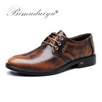 Bimuduiyu hakiki deri erkek ayakkabı iş rahat elbise ayakkabı patent deri kahverengi siyah yuvarlak ayak resmi1