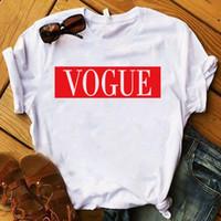 Femmes T-shirt Vogue imprimé T-shirt Dames à manches courtes Lâche Tee shirts Femmes Femmes Tops Vêtements Graphique