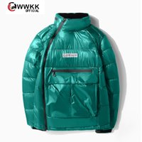 WWKK 2020 Down man Glossy Hooded Jackets Large Size Warm Thick Parka Loose Coat Winter Women Jacket