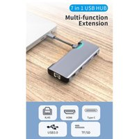BEESCLOVER Multifunktions-7 in 1 USB-C-HUB Typ C-HDMI-PD RJ45 Metall Adapter Dock HUB Typ-C zu USB3.0 Sd TF HDMI PD RJ45 r57