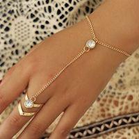 Altın Büyük Kristal Yüzük Bilezik Kadınlar için Bilek Zincir Rhinestone Takı Moda El Geri Bilezik Kadın Kol Bağlantı Süsler