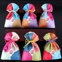Лоскутное Красочный Малый ткань мешок свадьба Фавор сумки Drawstring Slubby ямс ювелирных изделий мешок ткани Подарочная упаковка Сумки 10шт