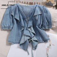 Hwlzltzht denim camisa feminina 2020 verão novo coreano-estilo curta calça jeans camisa v-pescoço ruffled cordão alça de moda top blusa1
