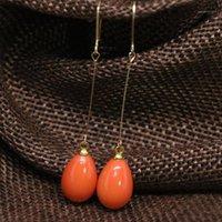 Fabrikauslass lange Earrop Ohrringe für Frauen Süßigkeiten Farben Backen Malen Glas Teardrop 9 * 13mm Baumeln Ohrboot Schmuck B18111