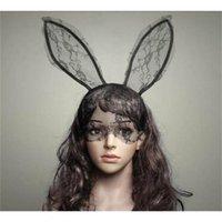 Cosplay Rosto Eye Lace Véu Máscara Headband do coelho de coelho Longo Orelha Hairband festa de Natal Halloween do vestido extravagante baile de máscaras Props New presente