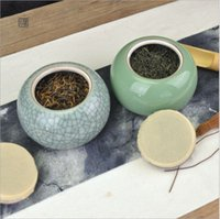 Durchmesser 6.2cm keramischer Topf grüner Tee Frühlingstee kreativ versiegelt Pot 10 * 8 cm große Celadon-Aufbewahrungstopf Zen Bruder Kumpel Caddy