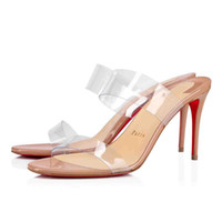 """Neue Frauen-Sommer-Sandalen Red Soles Heels, rote untere Schuhe """"Just-nichts"""" Style aus Leder und PVC-Träger, reizvolle Dame Hochzeit Kleid Schuhe"""