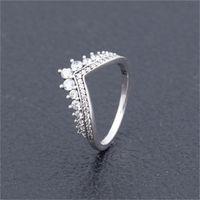 Temizle CZ Elmas Prenses Dilek Yüzük Seti Orijinal Kutusu Pandora 925 Ayar Gümüş Kadın Kızlar için Düğün Taç Yüzükler 5 K2