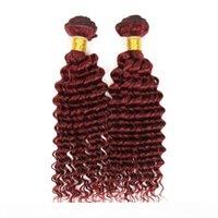 Yeni Stil Bordo Saç Derin Kıvırcık Örgü 99J Brezilyalı Malezya Perulu Moğol Kıvırcık Bakire Saç 4 adetgrup Üst Sınıf Şarap Kırmızı 99J Saç