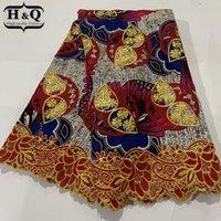 HQ Стильная 100% хлопка Гипюр Кружево Африканский печати Wax ткань шнурка Ankara Вышитые ткани Батик с кружевом 6 ярдов для платья