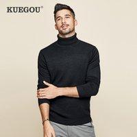 Kuegou Marka Giyim erkek Balıkçı Yaka Örgü Kazak Katı Renk Kış Sıcak Kazak Erkekler Ince Tops Artı Boyutu 3XL XZ-89002 201123