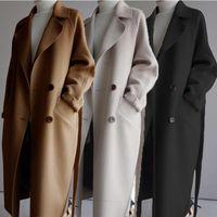 Kadınlar Kış Mont Bayan Geniş Yaka Kemer Cep Yün Karışımı Ceket Boy Uzun Siper Dış Giyim Yün Kadın Moda Ceket Ceket Yeni