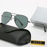 2020 Diseño de marca Gafas de sol polarizadas Hombres Mujeres Piloto Gafas de sol UV400 Gafas de gafas Marco de metal Lente polaroid con caja