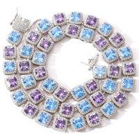 Collar de alumnos de hip hop de alta calidad europeo y americano de alta calidad 10 mm cuadrado color azul púrpura collar de zircon blingchain