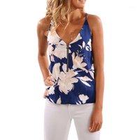 MUQGEW Moda Kolsuz Kadınlar Gallus Çiçek Baskılı Bluz Rahat Tops T Gömlek Üst Bayan Seksi Casual Slim Sleeveless1