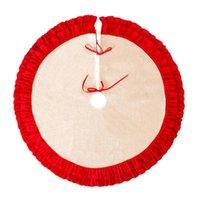 48 인치 리넨 삼베 크리스마스 트리 스커트 격자 무늬 주름 가장자리 테두리 라운드 매트 크리스마스 데코