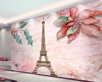 3d Wallpaper do quarto 3d Wallpaper Modern Romantic Flowers Torre Eiffel TV fundo da parede Cenário Silk decorativa 3d Mural Wallpaper
