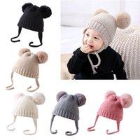 헤어 액세서리 아기 소년 소녀 Bobble Knit Beanie Hat 플러시 공 귀 유아 겨울 따뜻한 이중 Pompom Cap 1