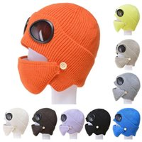 Winter Aviator Goggles Face Shield Mask Glasses Ear Protection Cap Windproof Anti Dust Plus Velvet Warm Knitted Hat Cycling Mask DDA749