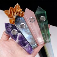 Venta al por mayor 20 de cristal de piedra natural de color cuarzo fumar pipa de cristal de joyería de piedras preciosas Punto Varita de tabaco Tubos Tubos Mano curativa