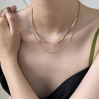 Aensoa Gold Snake - 여자 펑크 플랫 블레이드 링크 체인 멀티 레이어 목걸이 간단한 칼라 1을위한 체인 초커 목걸이