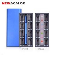 Kit di riparazione NewAcalox 48 in 1 Cacciavite magnetico multi-utensile Set Set di strumenti di precisione Kit riparazione Telefono per computer portatile con custodia in lega T200602