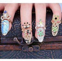 Rhinestone de moda lindo Bowknot Crown Crystal Open Finger Peligrafía femenina Falso Uñas Artes Anillos Beauty Jewelry Free Shi