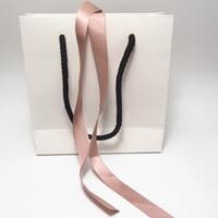 핑크 리본 백서 보석 가방 골판지 상자 유럽 팔찌 귀걸이 반지 목걸이 보석 포장 및 디스플레이