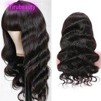 Perruque pleine machine à perruque 100% cheveux humains vague de corps droite 10-28inch Mécanisme Perruque Yirubeauty Couleur naturelle Pop Bangs
