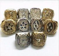 10pcs Ensemble 1971 1977 1993 1995 Cowboys Championship Bague Taille 11 Souvenirs Men Fan Cadeau En gros Drop Shipping