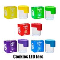 Casos biscoitos LED Light Tobacco Container recarregável Medicina caixa de vidro Jars Dab Wax 155 mL de armazenamento a seco Herb Rolamentos Cans fulgor de cigarro