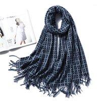 스카프 두꺼운 따뜻한 겨울 스카프 여성 캐시미어 shawls와 랩 레이디 패션 격자 무늬 남자 술 담요 bandana1