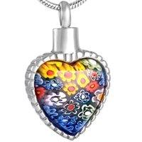 Murano Glass Pierre Cremation Bijoux pour Family Member Perte Memorial Bijoux Heart Crémation Cremation Urn Collier Pendentif Collier Femmes