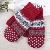 DHL Ship Wholesale Snowflake Knitted Gloves Women Gloves Cyc...