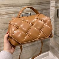 Saco do carteiro Messenger bolsa bolsa de ombro moda liso tecer tricô de couro genuíno hasp interior zíper liso superfície mão saco