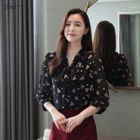 Kadın Bluzlar Gömlek Semfri Üç Çeyrek Kol Gömlek Kadınlar 2021 Yaz Çiçek Şifon Kadın Kore Versiyonu Moda Botting Shi Tops