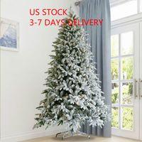 Amerikaanse stock kunstmatige kerstboom gevlochten grenen naaldboom met kegels rode bessen 7.5 ft opvouwbare stand w49819949