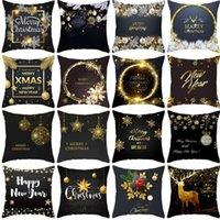 Taoup oro nero fiocco di neve allegro natale federa natale decorazione per la decorazione domestica per ornamenti natalizie Xmas Noel Santa WY889 HB